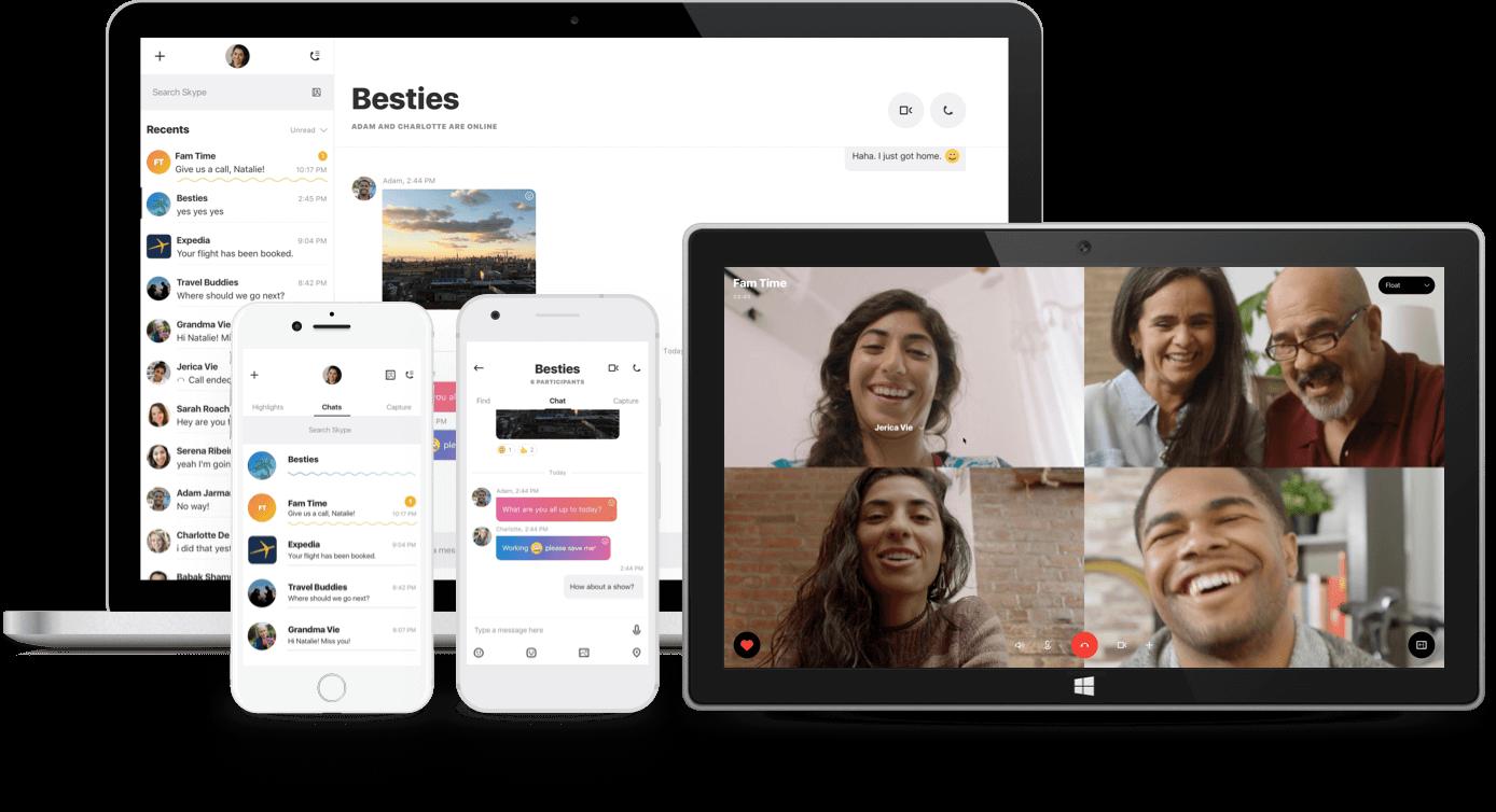 Nouvelle version de Skype incluant stories d'une semaine, messages colorés, réactions et un nouveau design !